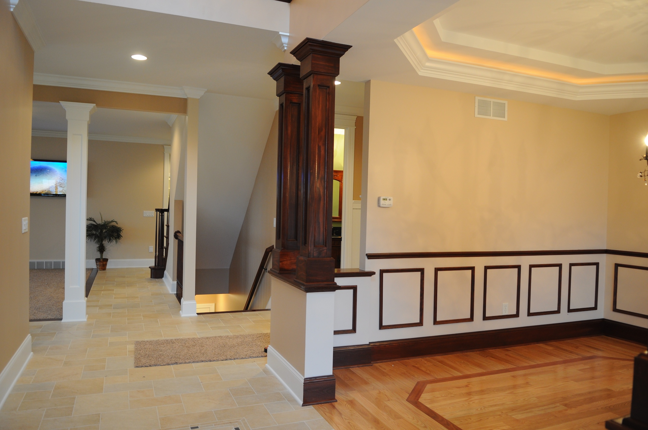 Dining Room With Custom Stepped Ceiling, Columns, Chair Rail U0026 Shadow Box  Wall Details